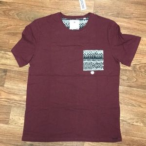 Pacsun Maroon Tee with Patterned Pocket